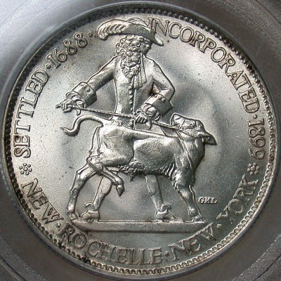 click for larger picture of 1938 New Rochelle, NY Commemorative Half Dollar