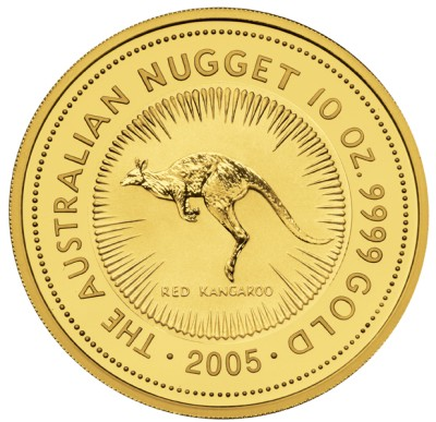 click for larger picture of 2005 Australian Nugget Gold 10 ounce 1000 Dollars