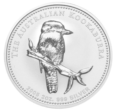 click for larger picture of 2005 Australian Silver Kookaburra 2 ounce 2 Dollars