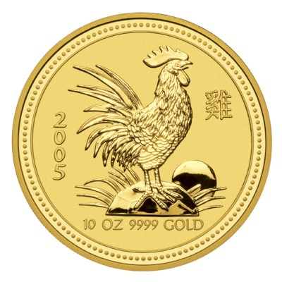 click for larger picture of 2005 Australian Rooster Gold 10 ounce 1000 Dollars