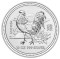 2005 Australian Silver Rooster 10 ounce 10 Dollars