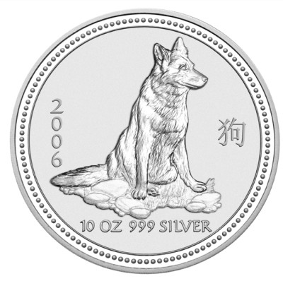 click for larger picture of 2006 Australian Silver Dog 10 ounce 10 Dollars