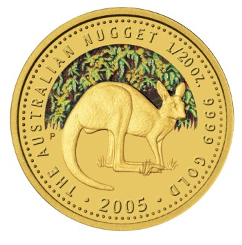 click for larger picture of 2005 P Australian Nugget Gold Proof 1/20 ounce 5 Dollars