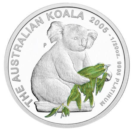 click for larger picture of 2005 P Australian Koala Platinum Proof 1/20 ounce