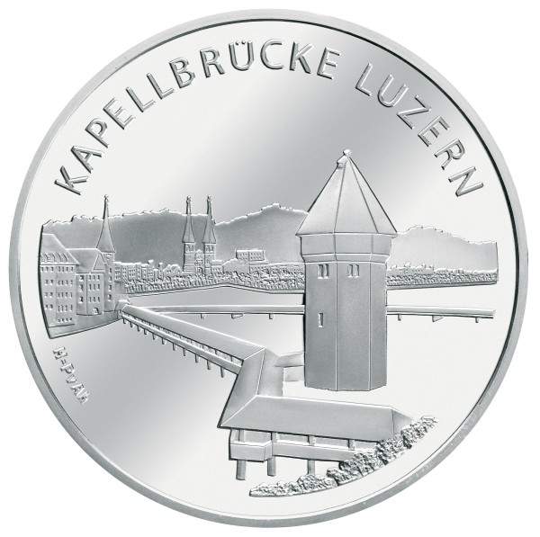 click for larger picture of 2005 B Swiss Silver 20 Francs Chapel Bridge Lucerne