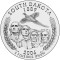 2006 South Dakota State Quarter Dollar (line art design)