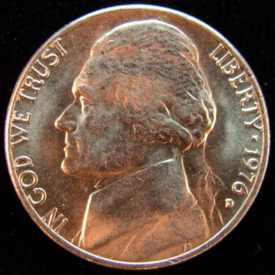 click for larger picture of 1976 D Jefferson Nickel