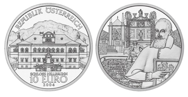click for larger picture of 2004 Austria Silver 10 Euro Hellbrunn Castle