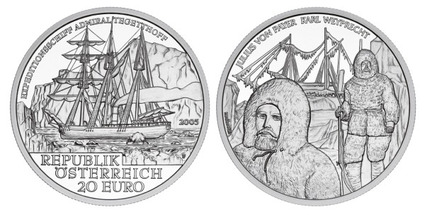 click for larger picture of 2005 Austria Silver 20 Euro Admiral Tegetthoff Polar Expedition