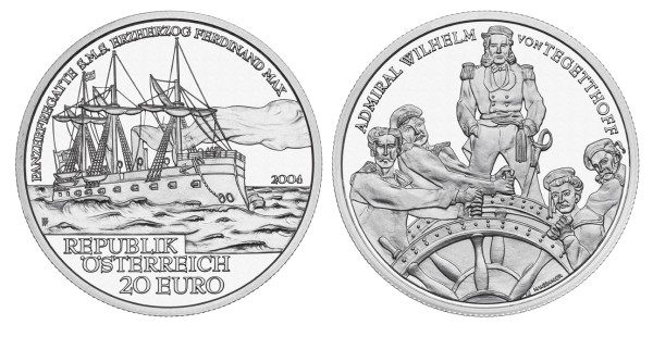 click for larger picture of 2004 Austria Silver 20 Euro SMS Frigate Ferdinand Max