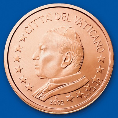 click for larger picture of 2002 Vatican City 5 Cents
