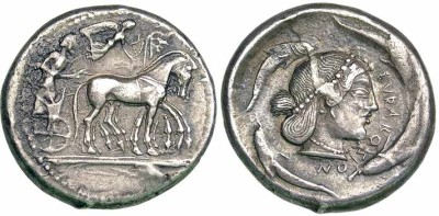 click for larger picture of 485-479 BC Sicily, Syracuse Silver Tetradrachm