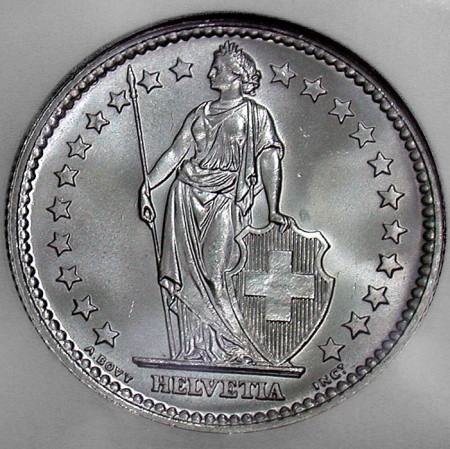 click for larger picture of 1959 B Swiss silver 2 Francs