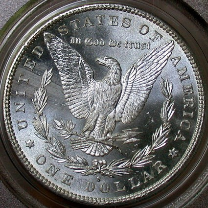 click for larger picture of 1890 S Morgan Dollar