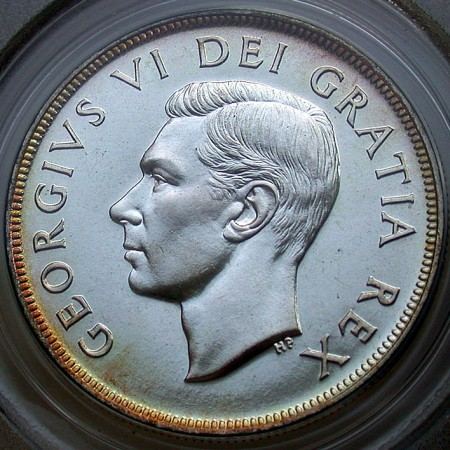 click for larger picture of 1951 Canadian Voyageur Dollar PL