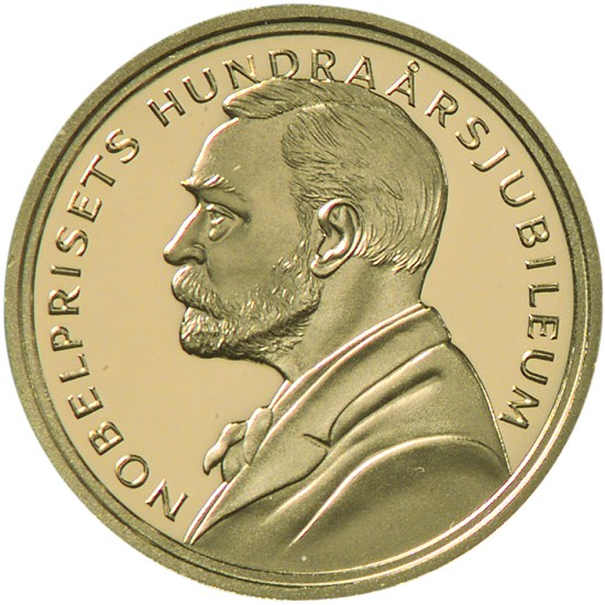 click for larger picture of 2001 Sweden Gold 2000 Kronor 100th  Anniversary of Founding of the Nobel Prize