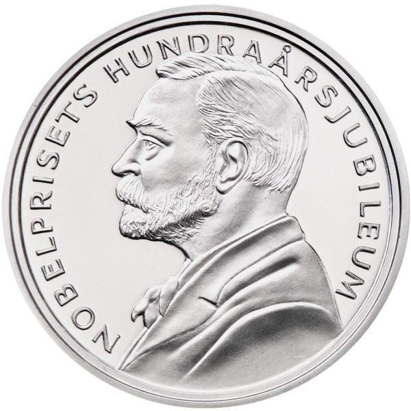click for larger picture of 2001 Sweden Silver 200 Kronor 100th  Anniversary Founding of the Nobel Prize