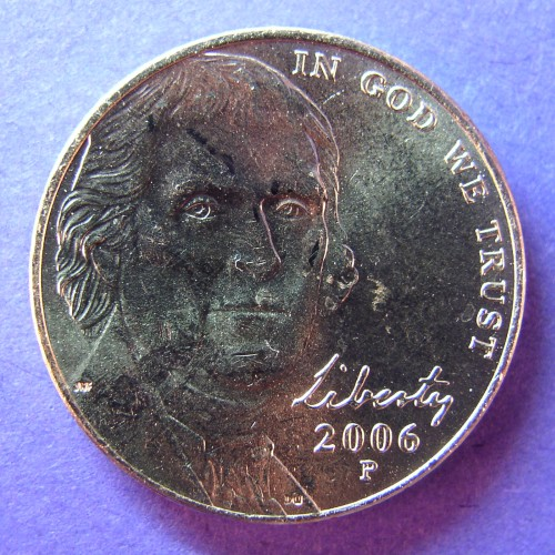 click for larger picture of 2006 P Jefferson Nickel