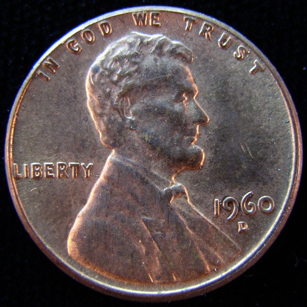 click for larger picture of 1960 D Lincoln Cent LD (Large Date)
