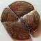 1995 copper plated zinc cent cut in 4 pieces