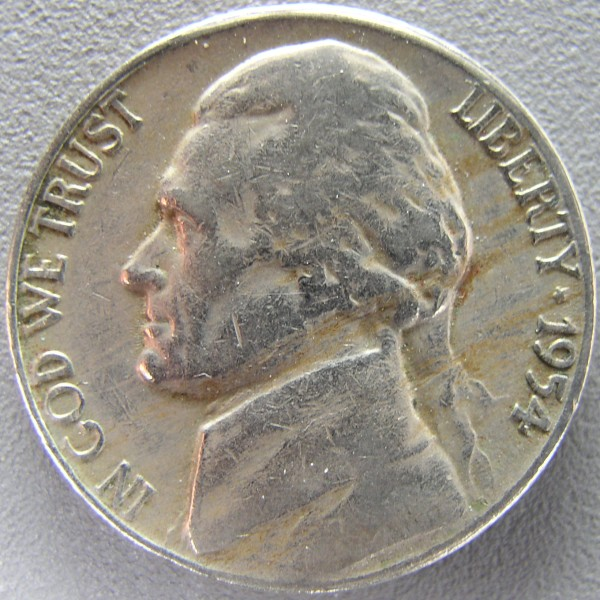 click for larger picture of 1954 S Jefferson Nickel