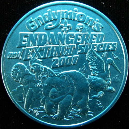 click for larger picture of 2007 Endymion's Endangered and Extinct Species Mardi Gras Coin