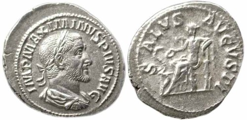 click for larger picture of 235 - 238 AD Maximinus I Silver Denarius