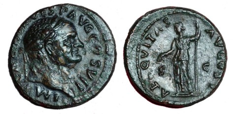 click for larger picture of 69-79 AD Vespasian Bronze Ae AS