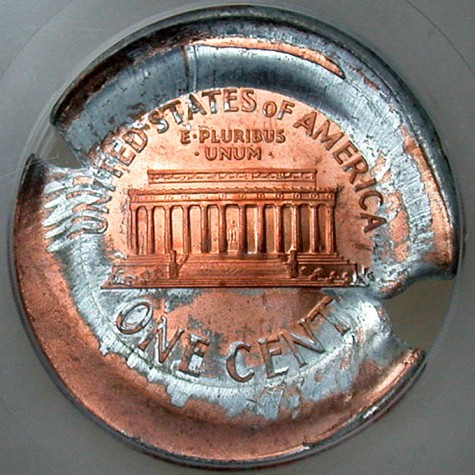 click for larger picture of Lincoln Cent Mushroom Cap Brockage Error