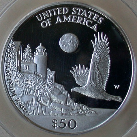 click for larger picture of 1998 W American Platinum Eagle Proof 1/2 ounce $50