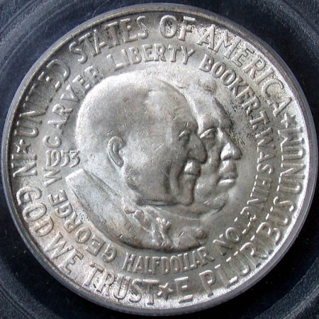 click for larger picture of 1953 S Washington - Carver Commemorative Half Dollar