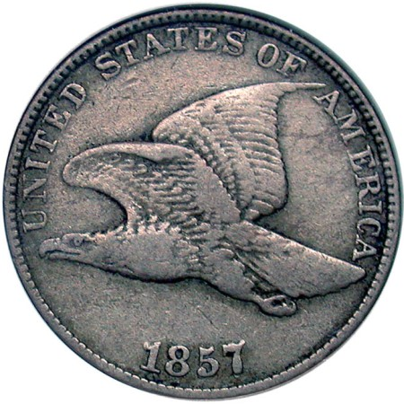 click for larger picture of 1857/57 Flying Eagle Cent