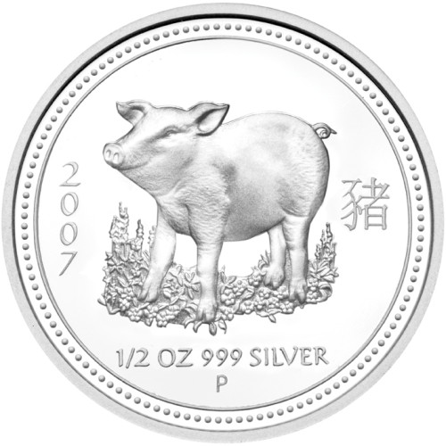 click for larger picture of 2007 P Australian Silver Proof Pig 1/2 ounce 50 Cents