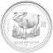 2007 P Australian Silver Proof Pig 1/2 ounce 50 Cents