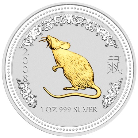 click for larger picture of 2008 Australian Silver Rat Gilded Edition 1 ounce 1 Dollar