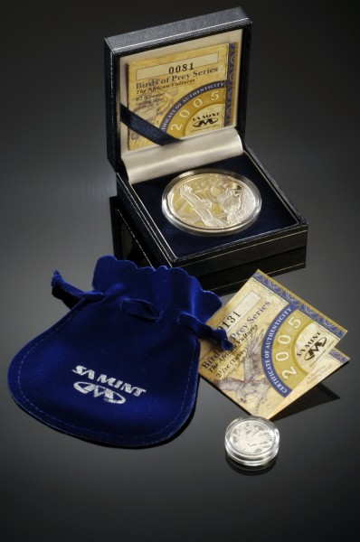 click for larger picture of 2005 South Africa Birds of Prey Set - Sterling Silver Crown and Tickey Coins