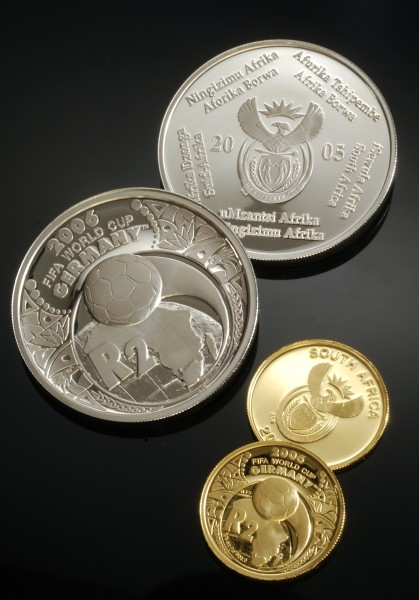 click for larger picture of 2005 South Africa FIFA World Cup Germany Gold and Silver Proof R2 Coins