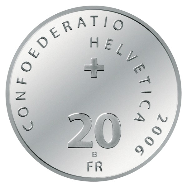 click for larger picture of 2006 B Swiss Silver 20 Francs 100th Anniversary of the Post Auto