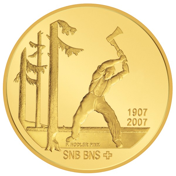 click for larger picture of 2007 B Swiss Gold 50 Francs 100th Anniversary of the Swiss National Bank