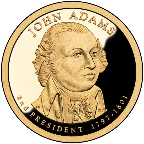 click for larger picture of 2007 S John Adams Presidential Dollar Proof
