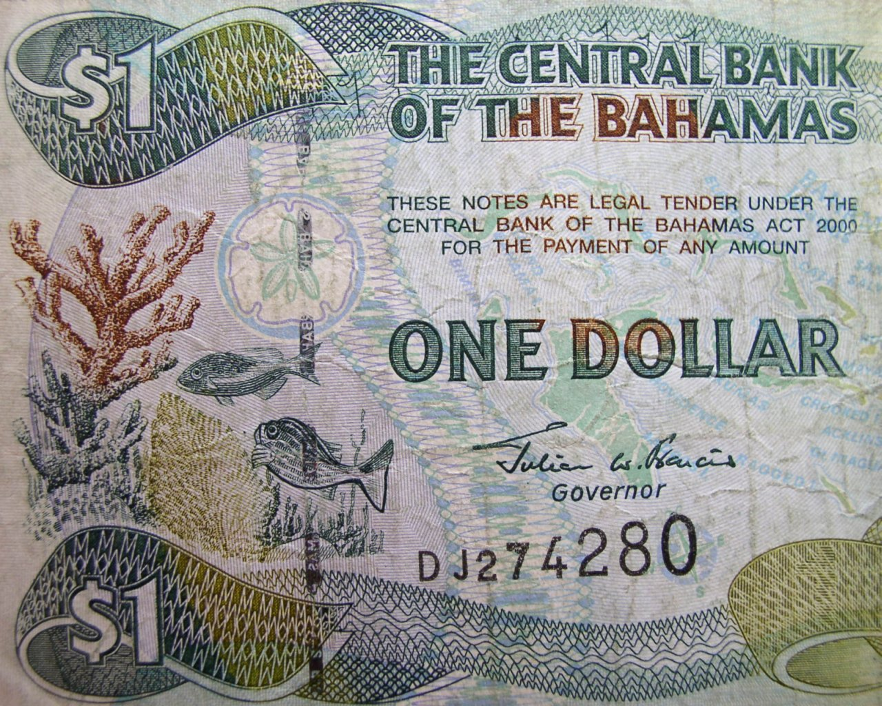 click for larger picture of 2001 series Bahamas One Dollar note