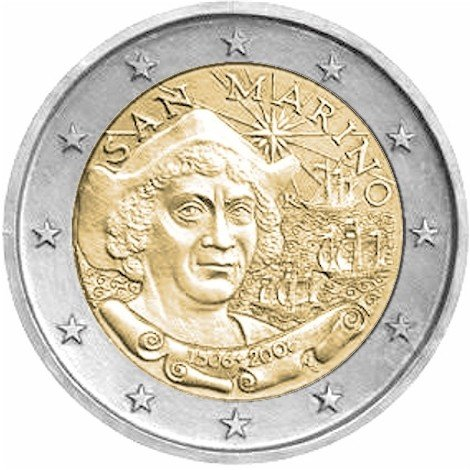 2006 R San Marino 2 Euros - 500th anniversary of Christopher Columbus' death