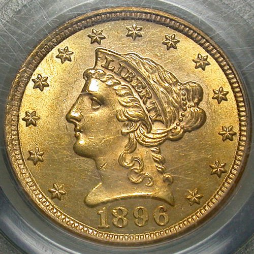 click for larger picture of 1896 Coronet Head Gold Quarter Eagle $2.50