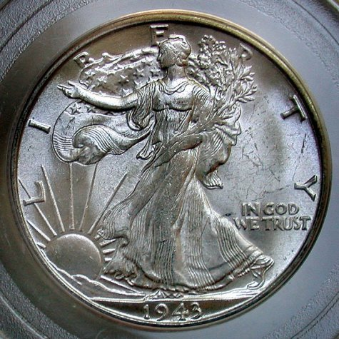 click for larger picture of 1943 S/S Walking Liberty Half Dollar