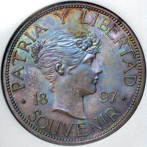 click for larger picture of 1897 Cuba Souvenir Peso, Silver, close date, star above 97 baseline
