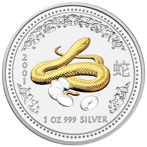 click for larger picture of 2001 Australian Silver Snake Gilded Edition 1 ounce 1 Dollar