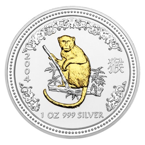 click for larger picture of 2004 Australian Silver Monkey Gilded Edition 1 ounce 1 Dollar