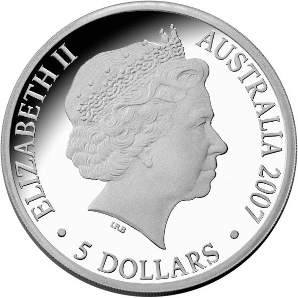 click for larger picture of 2007 Australian 5 Dollar Silver Proof - The Ashes Commemorative