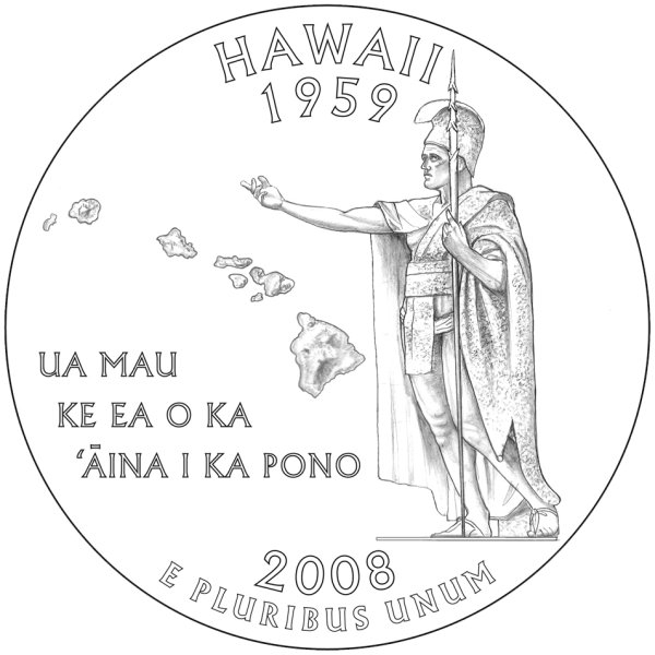 click for larger picture of 2008 Hawaii State Quarter Dollar (line art design)