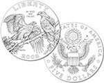 2008 Bald Eagle Commemorative Gold Five Dollars (line art design)